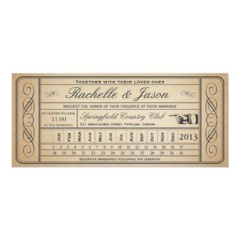 vintage wedding ticket  ii  punchout invitation