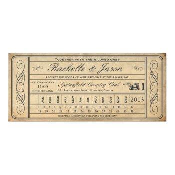 vintage wedding ticket  ii  punchout invitation