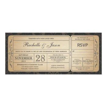 Small Vintage Wedding Ticket  Invitation With Rsvp 3.0 Front View