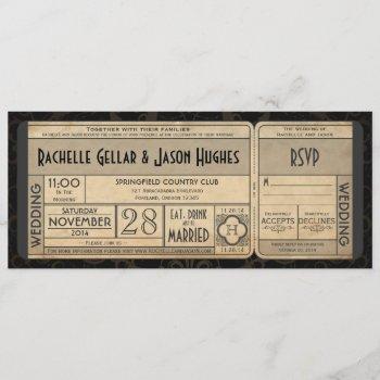 vintage wedding ticket invitation with rsvp ii 3.0