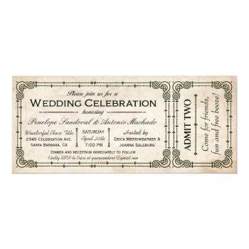 vintage wedding ticket invitations i