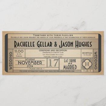 vintage wedding ticket iv- 40's era 2.0 invitation