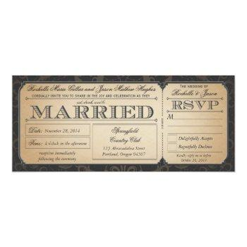 vintage wedding ticket with rsvp collection iii invitation