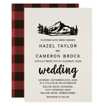 vintage wilderness | buffalo plaid wedding invitation