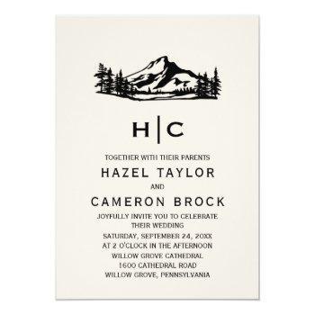 vintage wilderness monogram wedding invitation