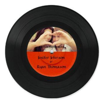 vinyl record photo wedding invitation