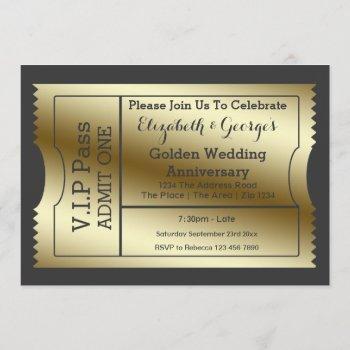 vip pass golden wedding anniversary ticket invitation