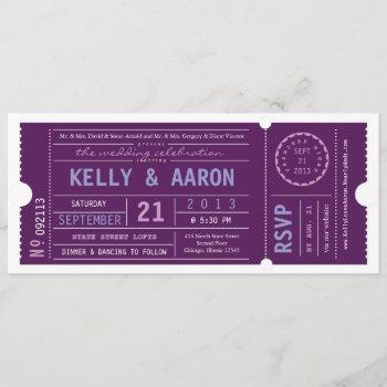 vip ticket wedding invitation in plum