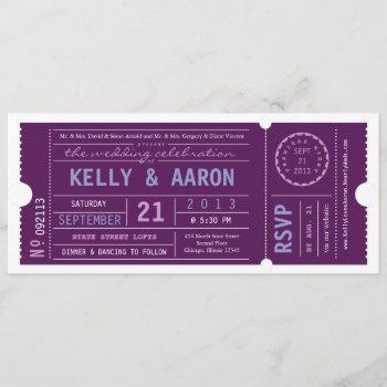 vip vintage ticket wedding invitation