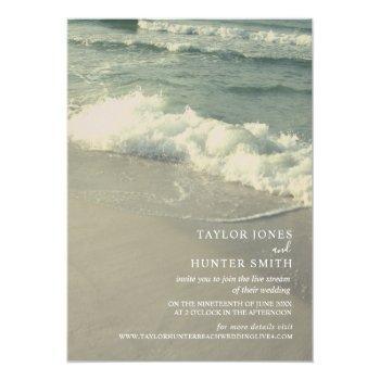 Small Virtual Live Stream Beach Wedding Invitation Front View