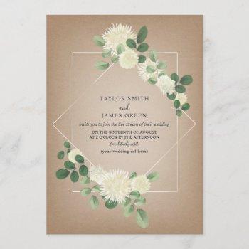 virtual live stream wedding cardstock botanical invitation