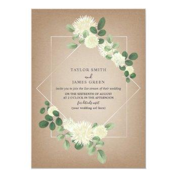 Small Virtual Live Stream Wedding Cardstock Botanical Invitation Front View