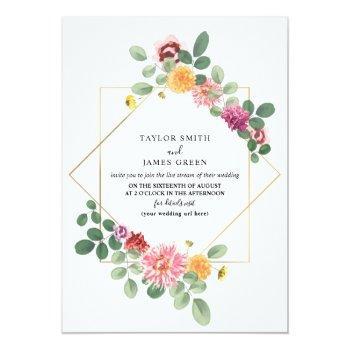 Small Virtual Live Stream Wedding Geometric Boho Floral Invitation Front View