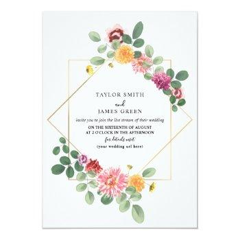 virtual live stream wedding geometric boho floral invitation
