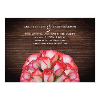 Small Virtual Live Stream Wedding Rustic Rose Bouquet Invitation Front View