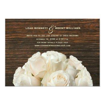 Small Virtual Live Stream Wedding Rustic White Roses Invitation Front View
