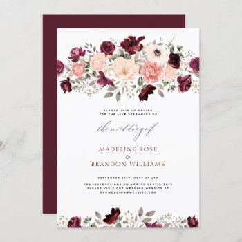 virtual rustic burgundy blush floral wedding invitation