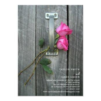 Small Virtual Streaming Wedding Rustic Pink Roses Invitation Front View