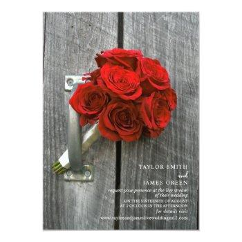 Small Virtual Streaming Wedding Rustic Red Rose Bouquet Invitation Front View