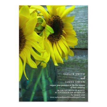 Small Virtual Streaming Wedding Rustic Sunflowers Invitation Front View