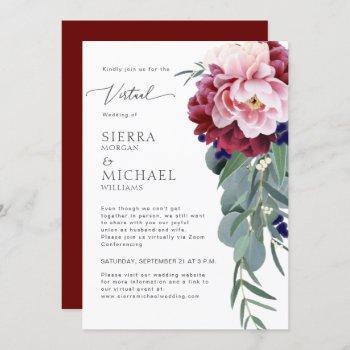 virtual wedding blush pink burgundy floral foliage invitation