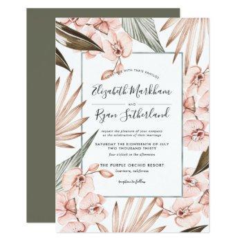 warm winter orchid wedding invitation
