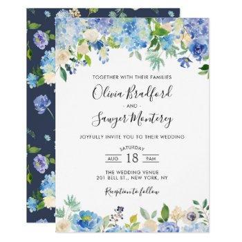 watercolor blue hydrangeas floral wedding invitation