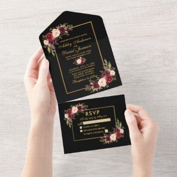 watercolor burgundy floral wedding gold all in one invitation