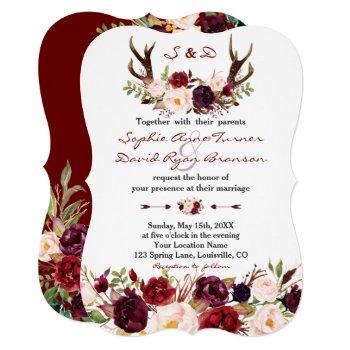 watercolor burgundy marsala floral antlers wedding invitation