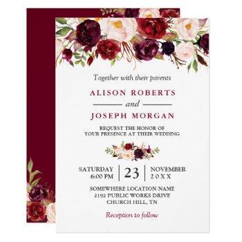 watercolor burgundy red floral rustic boho wedding invitation