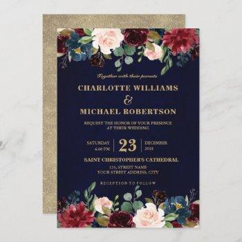 watercolor burgundy red navy floral rustic boho invitation