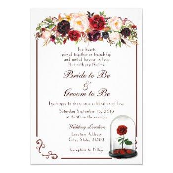watercolor burgundy red rose wedding invitation