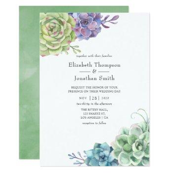 watercolor cactus succulents wedding invitation