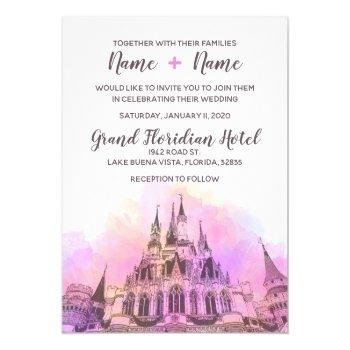 watercolor castle wedding invitation