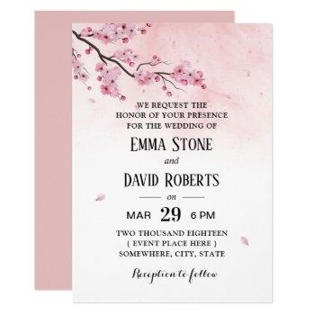 watercolor cherry blossom pink floral wedding invitation