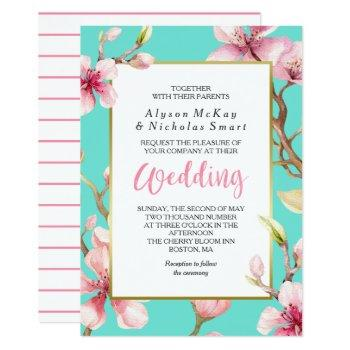 watercolor cherry blossom spring wedding invitation
