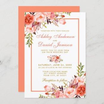 watercolor coral floral gold wedding invitation