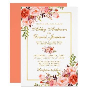 watercolor coral floral wedding gold script invitation