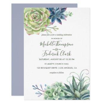 watercolor desert cactus succulents wedding invite