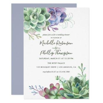 watercolor desert cactus succulents wedding shower invitation