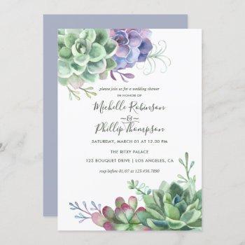 watercolor desert cactus succulents wedding shower invitation