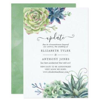 watercolor desert cactus succulents wedding update invitation