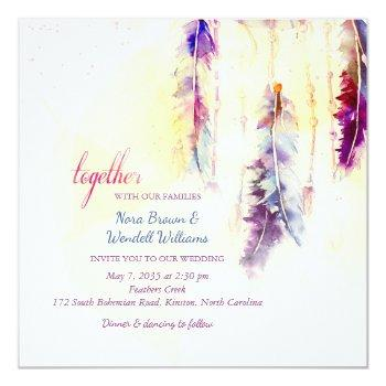 watercolor dreamcatcher feathers wedding invitation