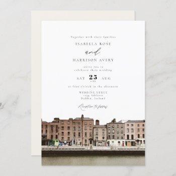 watercolor dublin ireland skyline river wedding invitation