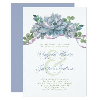 watercolor echeveria with purple ribbon invitation