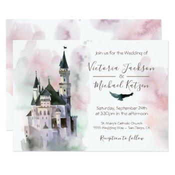watercolor enchanted castle wedding invitation