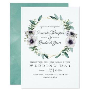 watercolor eucalyptus anemone geometric wedding invitation