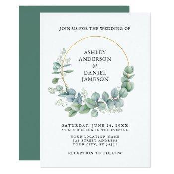 watercolor eucalyptus greenery gold wedding invitation
