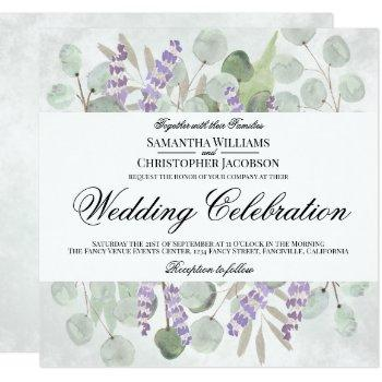 watercolor eucalyptus & lavender boho chic wedding invitation