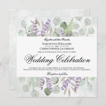 watercolor eucalyptus & lavender boho chic wedding invitation